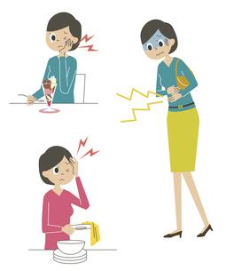 虫歯・頭痛・腹痛を感じる女性の素材 [FYI01040871]