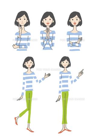 女性表情3パターン、指さしの素材 [FYI01040979]