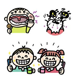 虫歯の子供、虫歯と虫歯菌、歯磨きをする子供の素材 [FYI01041023]