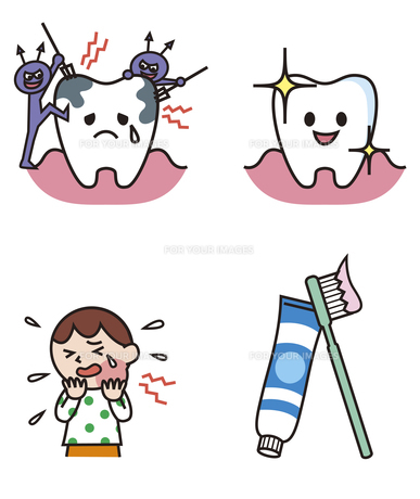 虫歯になる歯、健康な歯、子ども、歯ブラシと歯磨き粉の素材 [FYI01041191]