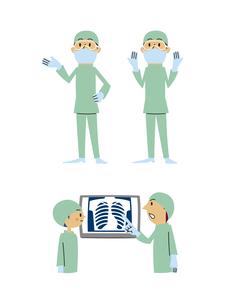 手術医師(手差し、両手上げ、レントゲン打ち合わせ)の素材 [FYI01041203]