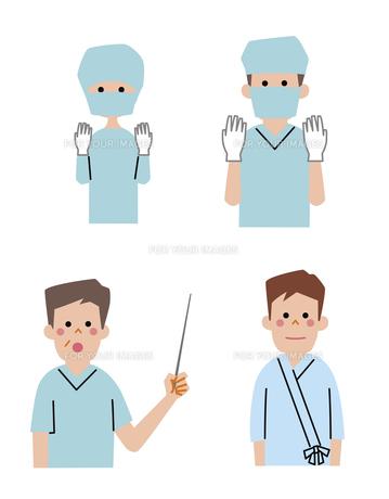 手術着の医者、女医、手術を受ける男性の素材 [FYI01041276]