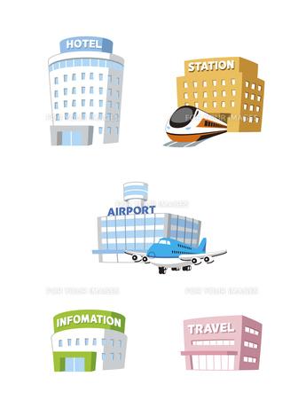 旅行建物(ホテル、駅、空港、インフォメーション、旅行代理店)の素材 [FYI01041436]