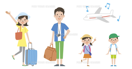家族で海外旅行と飛行機の素材 [FYI01041643]