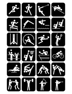 オリンピック競技のスポーツアイコン 黒地の素材 [FYI01041821]