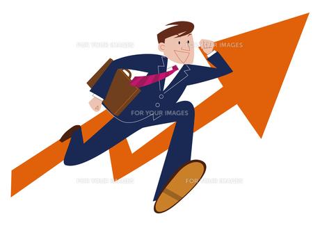 目標に向かって走るビジネスマンの素材 [FYI01041886]