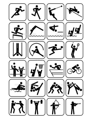 オリンピック競技のスポーツアイコン 白地の素材 [FYI01041945]