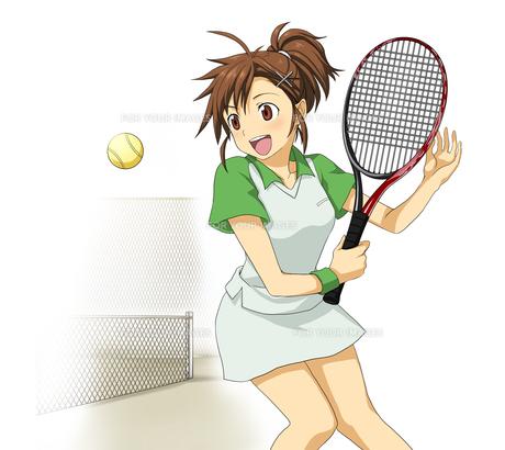 女子高校生一人 部活動 テニス部の素材 [FYI01042035]