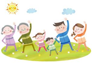 運動をする笑顔の三世代家族の素材 [FYI01042207]