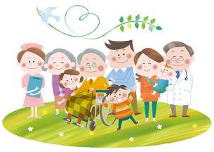 医者・看護師と三世代家族の素材 [FYI01042228]