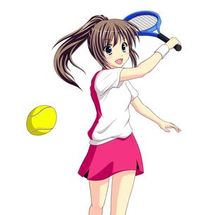 テニスで元気にショットを決める女子生徒の素材 [FYI01042365]