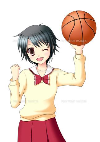 バスケットボールを持ちガッツポーズの女子生徒(中間服・冬服)の素材 [FYI01042369]