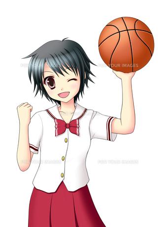 バスケットボールを持ちガッツポーズの女子生徒(夏服)の素材 [FYI01042381]