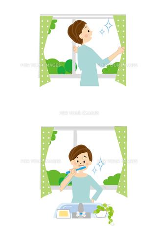女性 起床 歯磨き カーテンを開けるの素材 [FYI01043829]