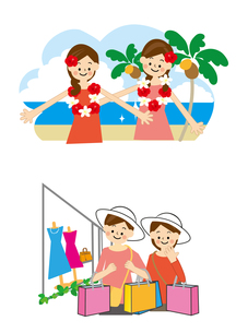 海外旅行 海とショッピングの素材 [FYI01043850]