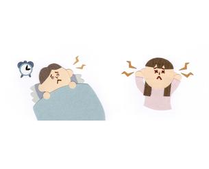 不眠の男性と耳鳴りのする女性の素材 [FYI01043907]
