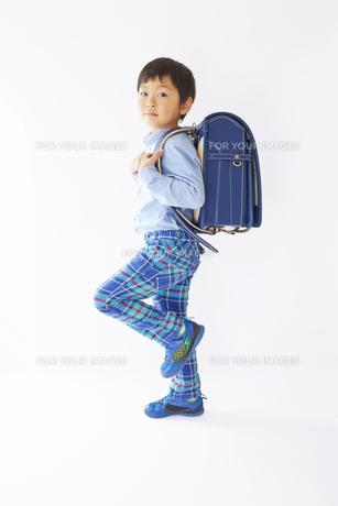 私服で青いランドセルを背負って歩く小学一年生の素材 [FYI01044090]