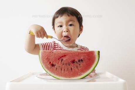 スイカを食べる子供の素材 [FYI01044091]