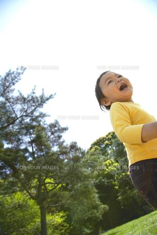 新緑に囲まれた芝生の上を笑顔で走る子供の素材 [FYI01044271]