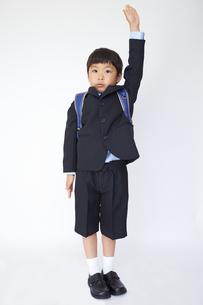 スーツで青いランドセルを背負い、手を挙げる小学一年生の素材 [FYI01044274]