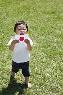 芝生の上で日本国旗を持つ子供の素材 [FYI01044329]