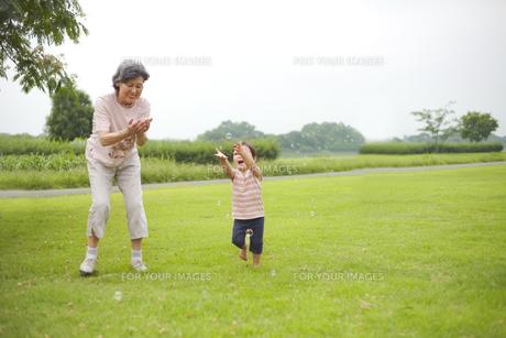 シャボン玉で遊ぶ孫とおばあちゃんの素材 [FYI01044343]
