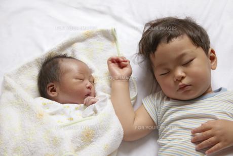 仲良く眠る生まれたばかりの赤ちゃんと子供の素材 [FYI01044350]