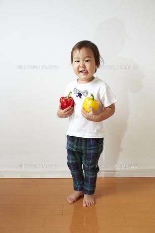 パプリカを両手に持って笑顔な幼児の素材 [FYI01044356]