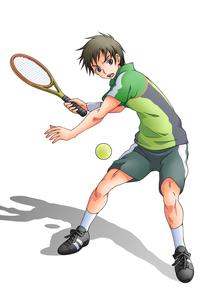 テニスをする少年(白バック)の素材 [FYI01046053]