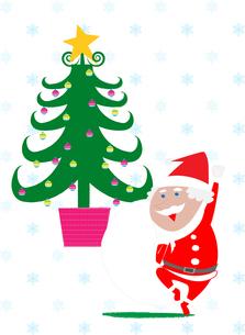 サンタクロースとクリスマスツリーの素材 [FYI01046690]