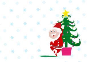 サンタクロースとクリスマスツリーの素材 [FYI01046760]