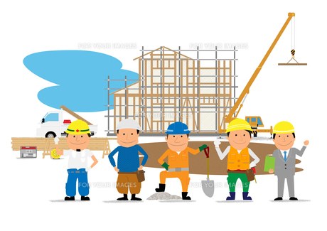 住宅建設の工事現場と働く人たちの素材 [FYI01046787]
