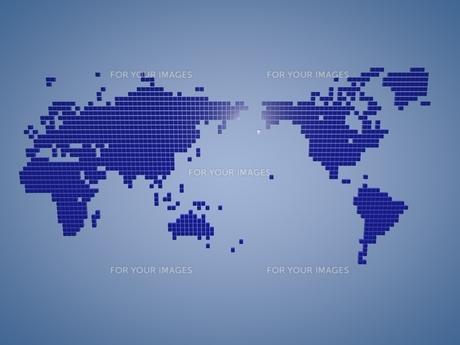 ブルーのブロックで作られた世界地図の素材 [FYI01048340]