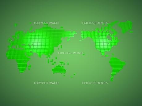 グリーンのブロックで作られた世界地図の素材 [FYI01048349]