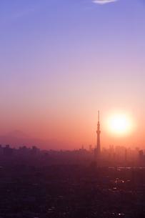 東京スカイツリーと夕日の素材 [FYI01048715]