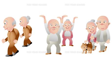 高齢者の健康 ジョギング 体操 犬の散歩の素材 [FYI01049457]