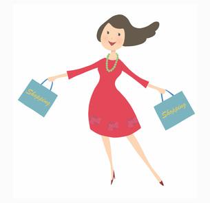 ショッピングバッグを両手に持っている女性の素材 [FYI01049461]