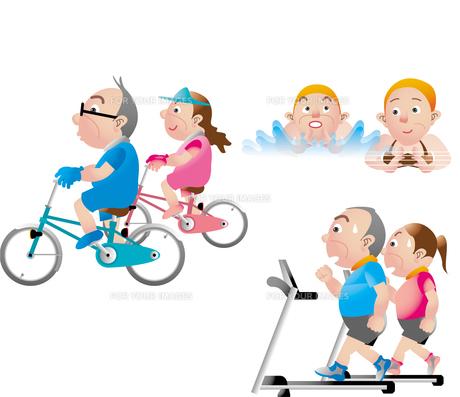 中高年の健康 サイクリング 水泳 スポーツジムの素材 [FYI01049505]