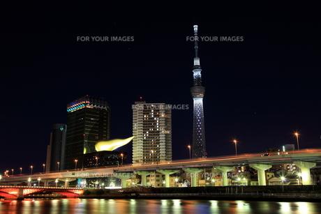 駒形橋の下から見た東京スカイツリーのクリスマスライトアップの素材 [FYI01050771]