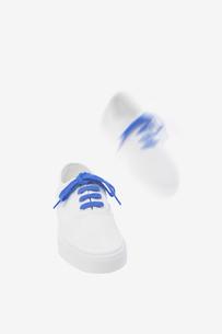 青い紐の着いた白いスニーカーの素材 [FYI01051976]