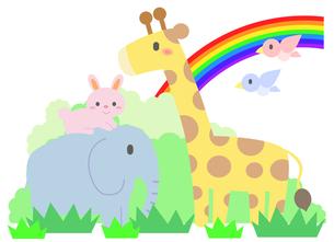 動物たちと虹の素材 [FYI01059981]
