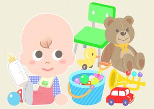 赤ちゃんとおもちゃの素材 [FYI01059982]