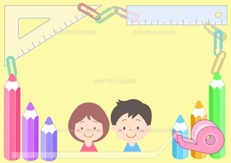 少年と少女と文房具の素材 [FYI01060003]