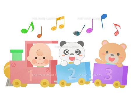 汽車に乗る赤ちゃんとパンダとクマの素材 [FYI01060004]