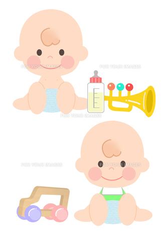 赤ちゃんとおもちゃの素材 [FYI01060005]