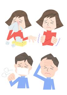 風邪を引いた男性と女性の素材 [FYI01060014]