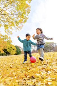 秋の公園でボール遊びをする男の子と女の子の素材 [FYI01075044]