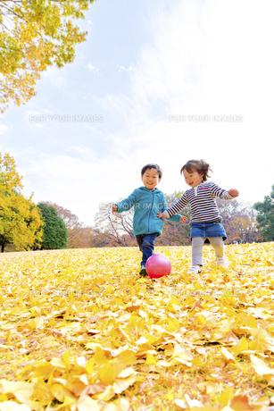 秋の公園でボール遊びをする男の子と女の子の素材 [FYI01075069]