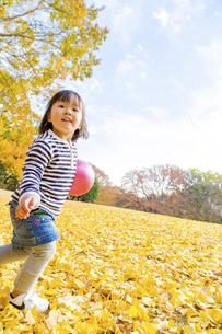 秋の公園でボール遊びをする女の子の素材 [FYI01075094]