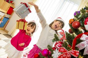 クリスマスツリーを飾って遊ぶ姉妹の素材 [FYI01075120]